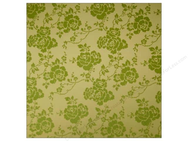 Anna Griffin 12 x 12 in. Cardstock Haven Green Flocked Floral (25 sheets)