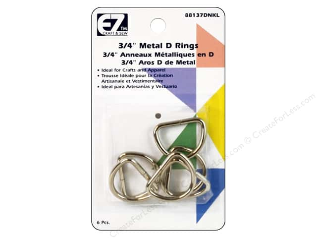 EZ Quilting D-Rings 3/4 in. Nickel 6 pc.