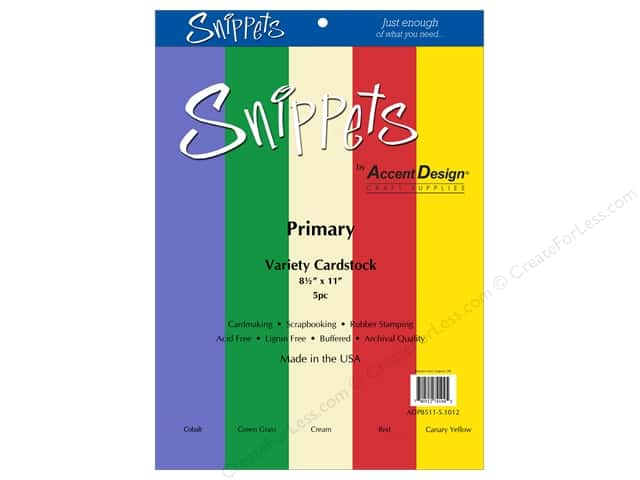 Paper Accents Cardstock Variety Pack 8 1/2 x 11 in. Primary 5 pc.