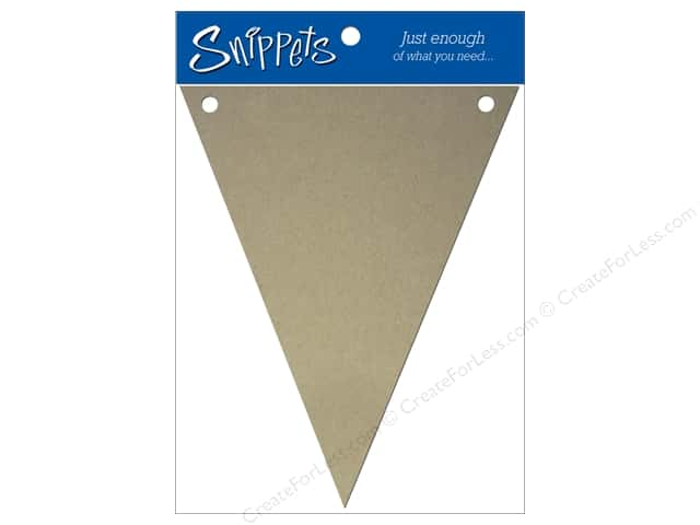 Paper Accents Chipboard Pennants 4 x 6 in. 3 pc. Kraft