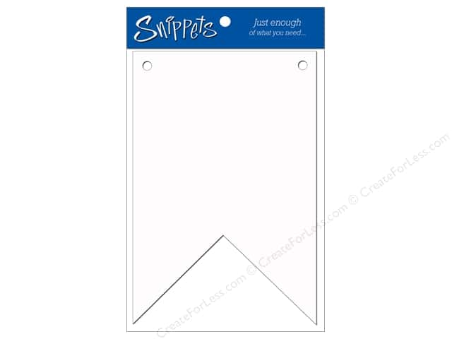 Paper Accents Chipboard Pennants 5 x 8 in. Two Point 3 pc. White