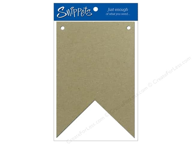 Paper Accents Chipboard Pennants 4 x 6 in. Two Point 3 pc. Natural