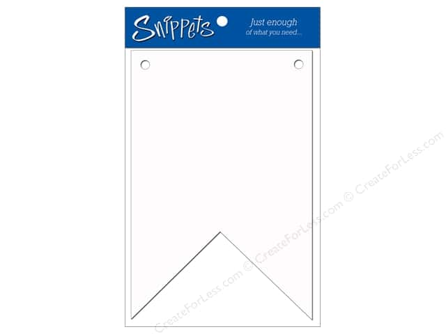 Paper Accents Chipboard Pennants 4 x 6 in. Two Point 3 pc. White