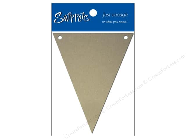Paper Accents Chipboard Pennants 2 1/2 x 4 in. 4 pc. Natural