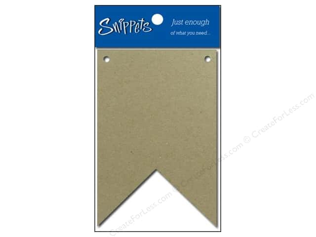 Paper Accents Chipboard Pennants 2 1/2 x 4 in. Two Point 4 pc. Natural