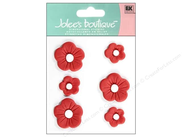 Jolee's Boutique Stickers Confection Fondant Flower Large Red
