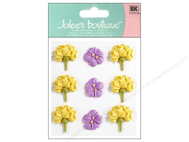 Jolee's Boutique Stickers Confection Icing Flower Large Yellow and Purple