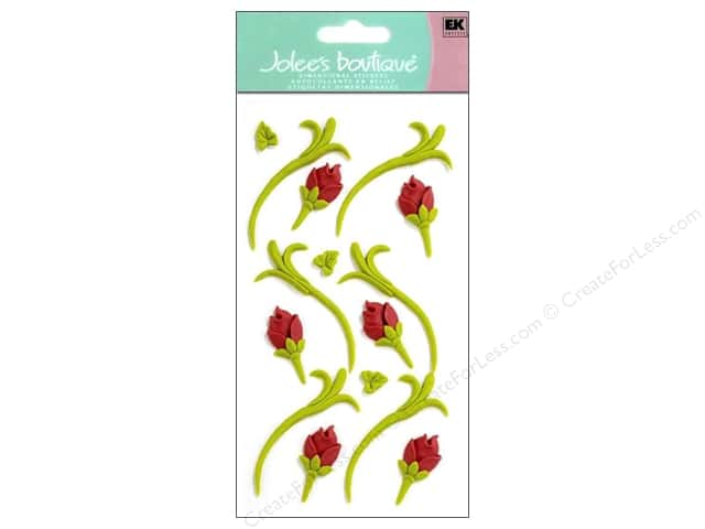 Jolee's Boutique Stickers Confection Icing Flower Buds Green and Red