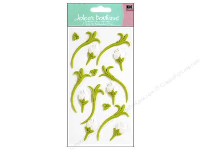 Jolee's Boutique Stickers Confection Icing Flower Buds Green and White