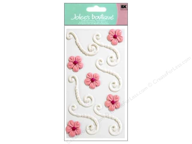 Jolee's Boutique Stickers Confection Icing Flower Flourishes White and Pink