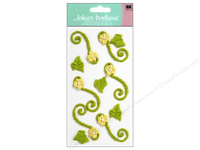 Jolee's Boutique Stickers Confection Icing Flower Flourishes Green and Yellow