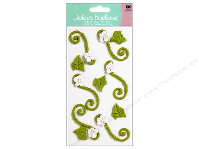 Jolee's Boutique Stickers Confection Icing Flower Flourishes Green and White