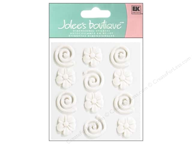 Jolee's Boutique Stickers Confection Icing Flower Swirls White