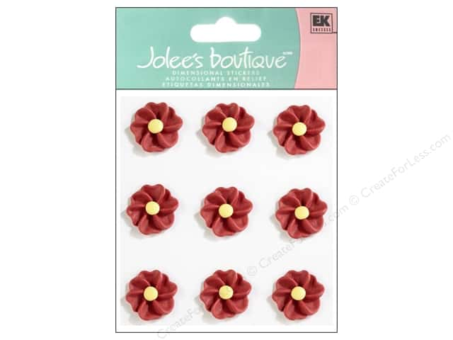 Jolee's Boutique Stickers Confection Icing Flower Pleated Red