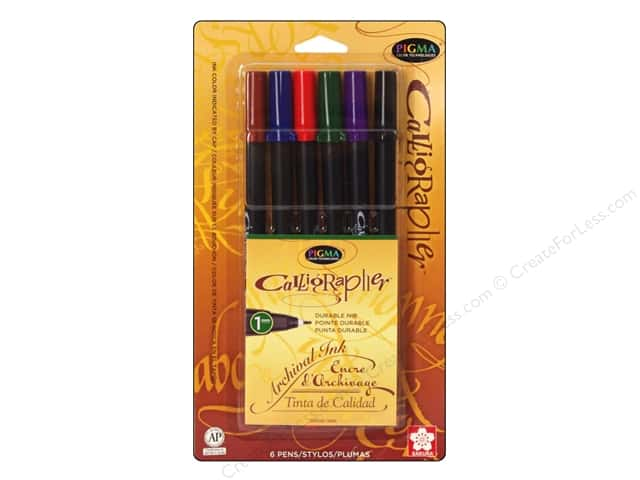 Sakura Pigma Calligrapher Pen 1 mm Assorted Color 6 pc.