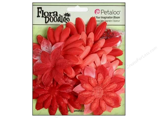 Petaloo FloraDoodles Daisy Layers Large Glitter Poppy Red