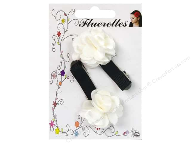 Mark Richards Fluerettes Flower Barrette White