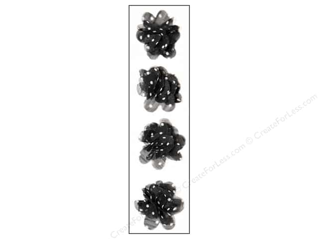Mark Richards Sticker Fleurettes Flower Sheer Black
