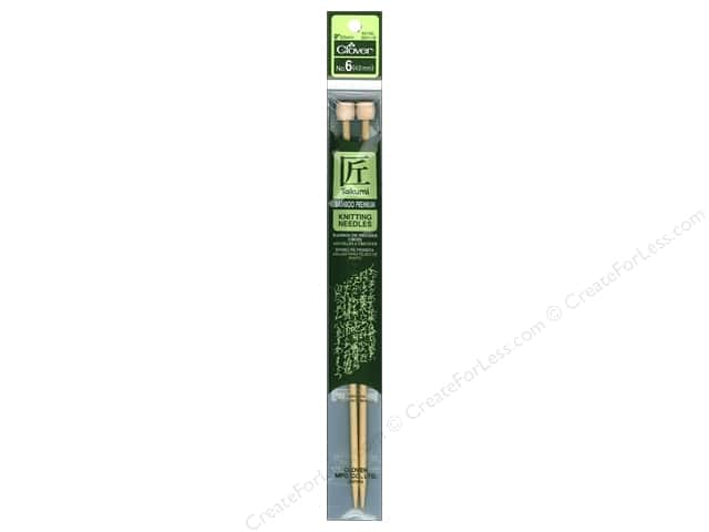 Clover Bamboo Single Point Knitting Needles 9 in. Size 6 (4.0 mm)