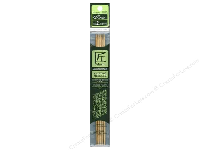 Clover Bamboo Knitting Needle Double Point 7 in. Size 2 (2.75 mm) 5 pc.