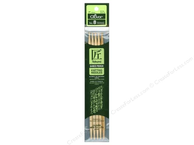 Clover Bamboo Knitting Needle Double Point 7 in. Size 8 (5 mm) 5 pc.