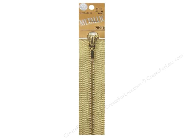 Coats Metallic Separating Zipper 24 in. Gold
