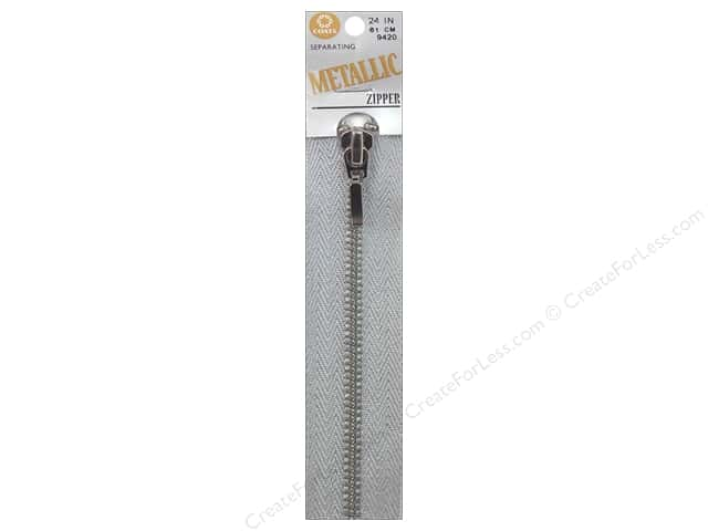 Coats Metallic Separating Zipper 24 in. Silver