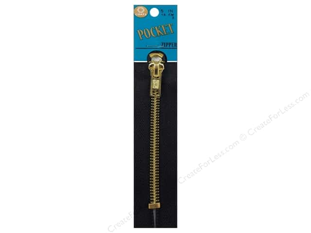 Coats Pocket Brass Zipper 5 in. Black