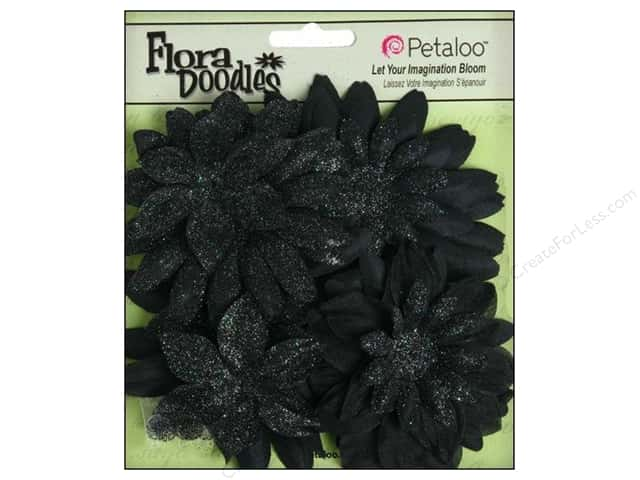 Petaloo FloraDoodles Daisy Layers Large Glitter Black