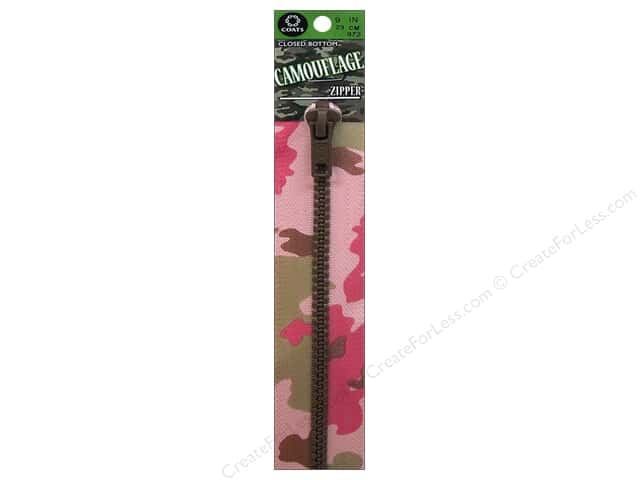 Coats Closed Bottom Designer Zipper 9 in. Pink Camo