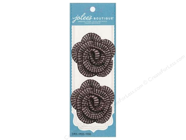Jolee's Boutique Embellishments Houndstooth Crochet Flower Brown