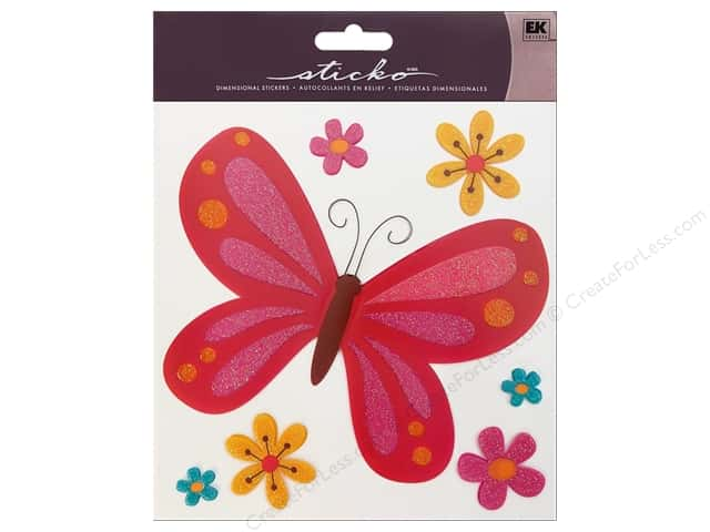 EK Sticko Stickers Big Butterfly Pink
