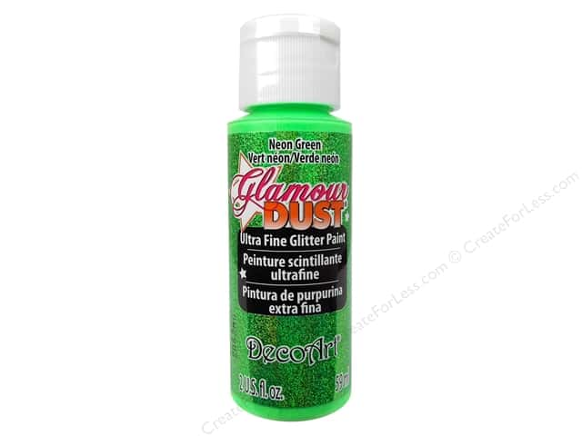 DecoArt Glamour Dust Ultra Fine Glitter Paint 2 oz. Neon Green