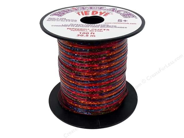 Pepperell Rexlace Craft Lace 100 ft. Tye-Dye Clear Red