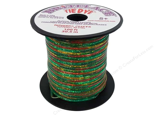 Pepperell Rexlace Craft Lace 100 ft. Tye-Dye Clear Green