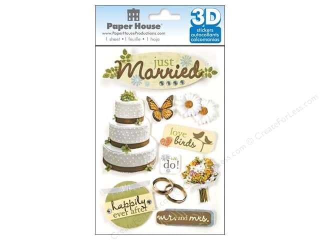 Paper House Sticker 3D Just Married