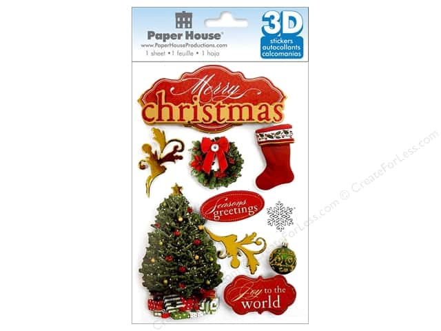 Paper House Sticker 3D Merry Christmas