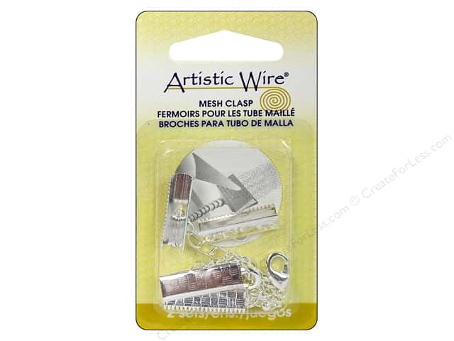 Artistic Wire Mesh Clasp with Extension Chain & Lobster Clasp 3/4 in. 2 pc. Silver Plated