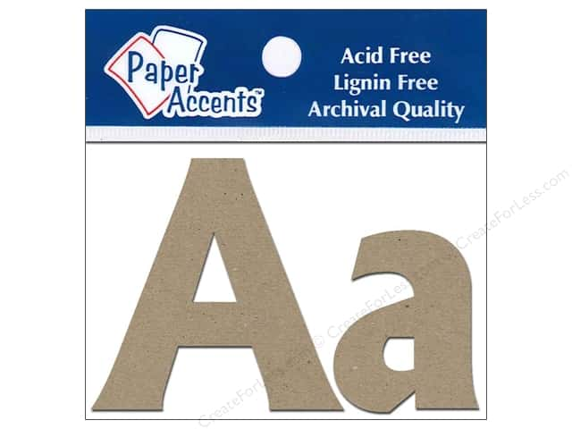 "Paper Accents Chipboard Shape Letters ""Aa"" 2 in. 2 pc. Natural"