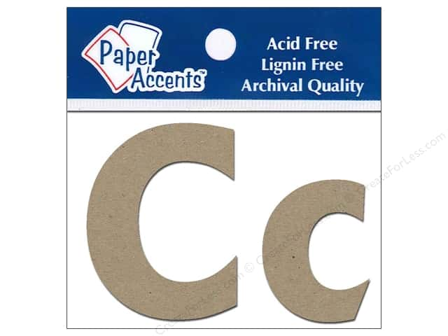 """Paper Accents Chipboard Shape Letters """"Cc"""" 2 in. 2pc Kraft"""