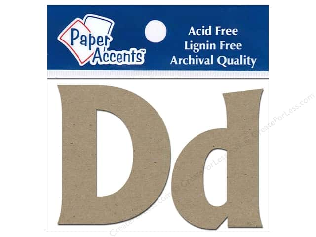 "Paper Accents Chipboard Shape Letters ""Dd"" 2 in. 2 pc. Natural"