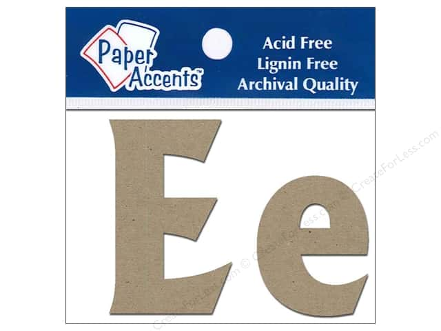 "Paper Accents Chipboard Shape Letters ""Ee"" 2 in. 2 pc. Kraft"
