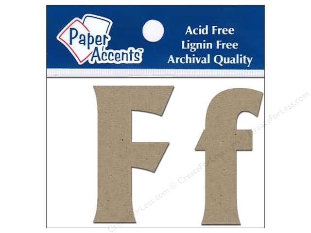 "Paper Accents Chipboard Shape Letters ""Ff"" 2 in. 2 pc. Kraft"