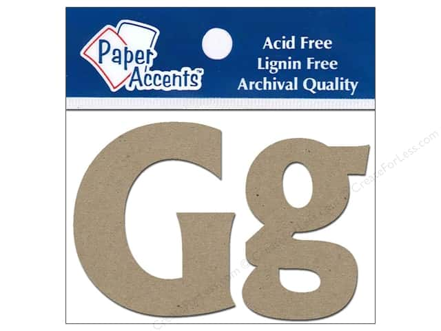 """Paper Accents Chipboard Shape Letters """"Gg"""" 2 in. 2 pc. Kraft"""