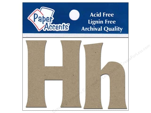 "Paper Accents Chipboard Shape Letters ""Hh"" 2 in. 2 pc. Kraft"