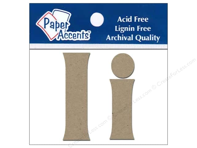 "Paper Accents Chipboard Shape Letters ""Ii"" 2 in. 2 pc. Kraft"