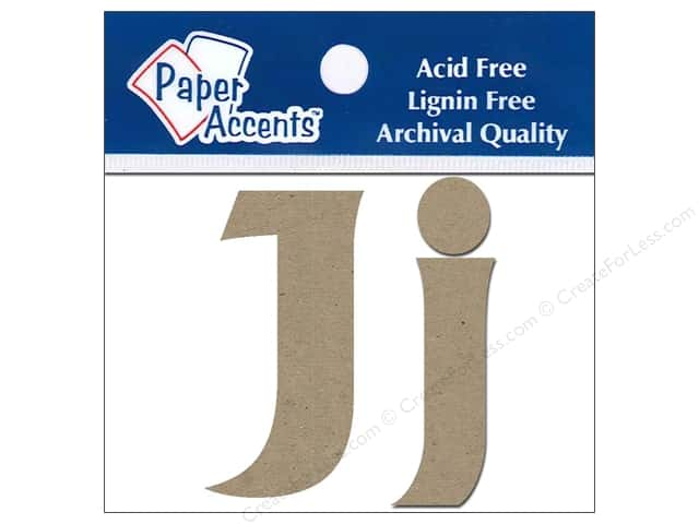 "Paper Accents Chipboard Shape Letters ""Jj"" 2 in. 2 pc. Kraft"