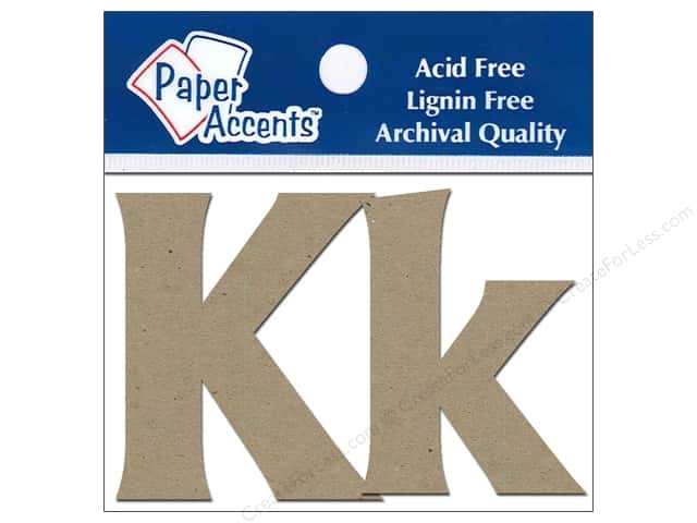 "Paper Accents Chipboard Shape Letters ""Kk"" 2 in. 2 pc. Kraft"
