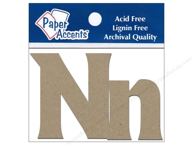 "Paper Accents Chipboard Shape Letters ""Nn"" 2 in. 2 pc. Kraft"