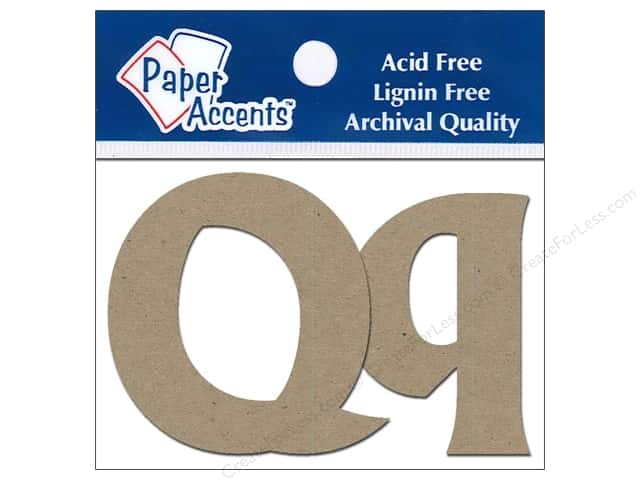 "Paper Accents Chipboard Shape Letters ""Qq"" 2 in. 2 pc. Kraft"